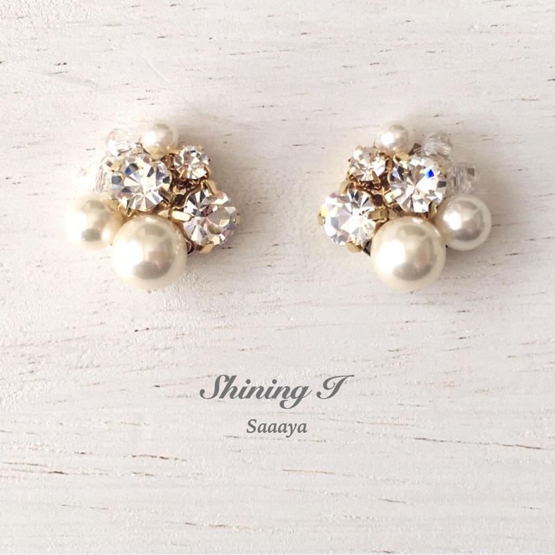 Mix stone *Clear / Earrings