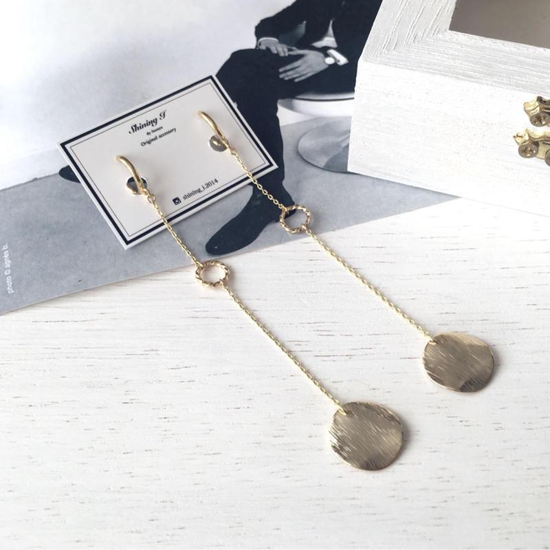 選べる金具 ★ シンプル華やかメタルロングイヤリング