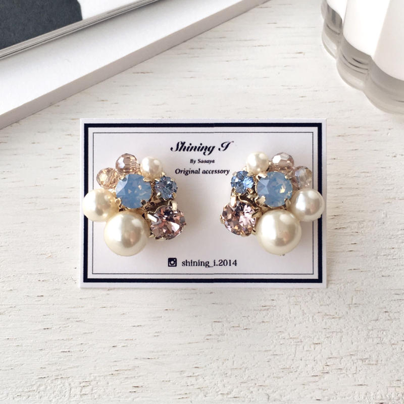 春夏数量限定 Mix stone *P×B / Earrings