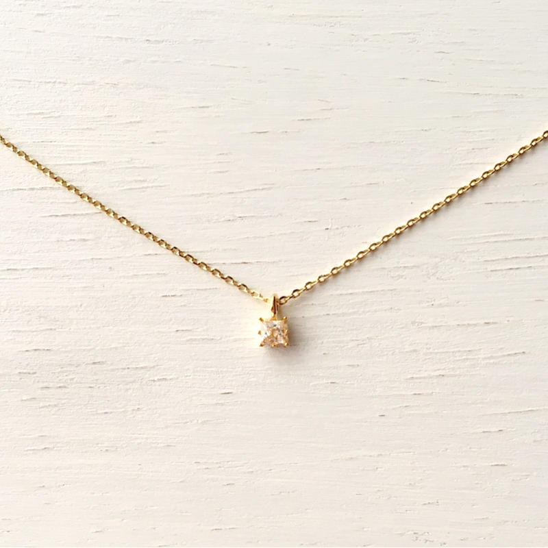 Favorite things -Square zirconia- / Necklace