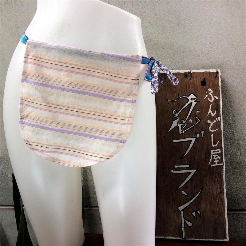 ふんどし女子【くノ一 パープルラインTバック】綿+リネン01 ShiNoBi Samurai Underwear Kunoichi Purple Line Cotton& Linen T-Back01