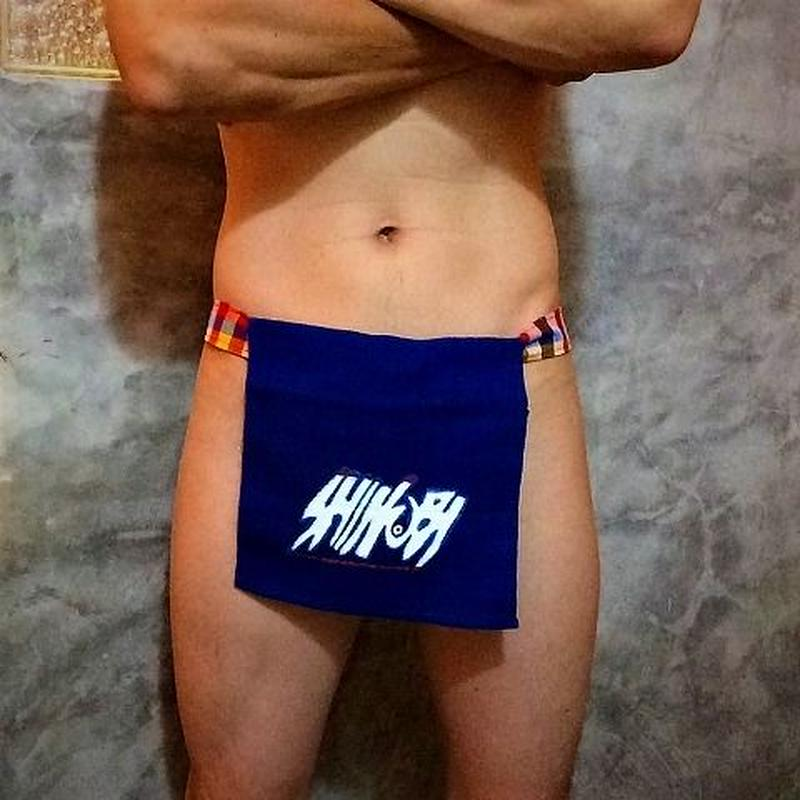 ふんどし【チェンマイ手織り綿青ロゴ01】 ShiNoBi Samurai Under Wear Blue Homespun Cotton Logo01