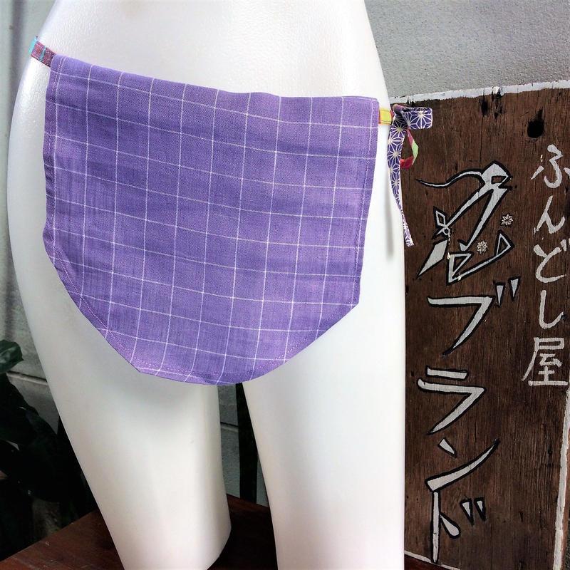 ふんどし女子【くノ一菫チェックTバック】リネン01 ShiNoBi Samurai Under Wear Kunoichi Violet Check Linen T-Back01