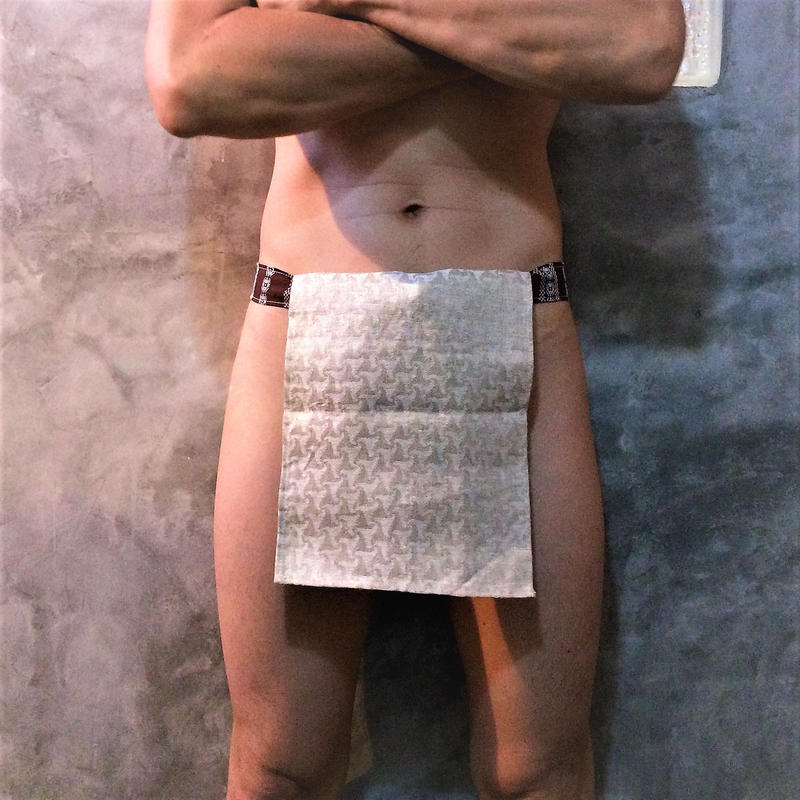 ふんどし【生成り麻手裏剣02】ShiNoBi Samurai Under Wear Syuriken Weave02(Pure linen hemp)