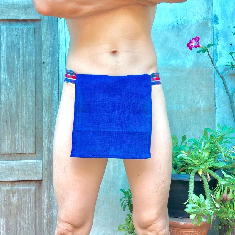 ふんどし【チェンマイ手織綿青】 ShiNoBi Samurai Under Wear Blue Homespun Cotton01