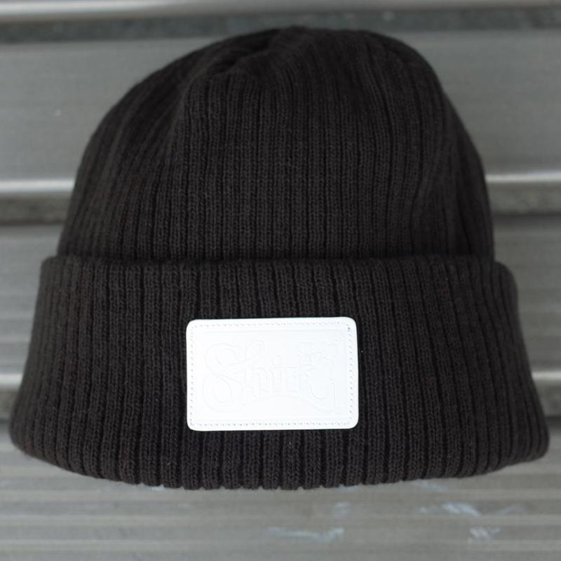 LEATHER PATCH CUFF WATCH CAP  (BLACK) Made in Japan [SH180501BLK]