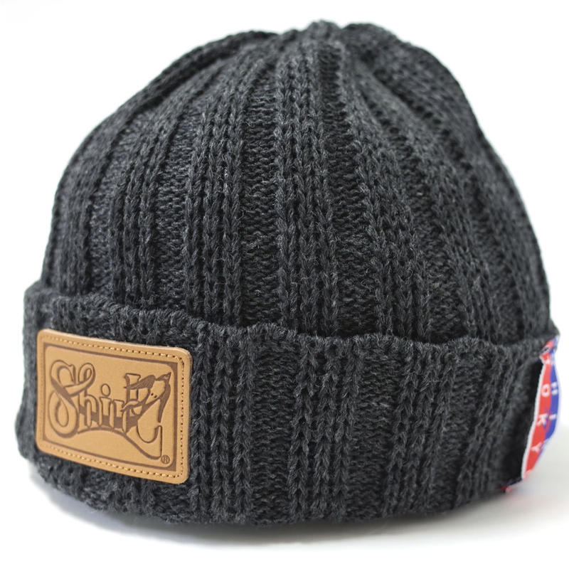 LEATHER PATCH OUTLAST BEANIE  (MIX CHARCOAL) Made in Japan (SH160502CHA)