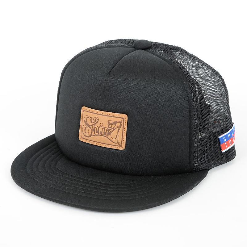 LEATHER PATCH MESH CAP (BLACK)(SH160302BLK)