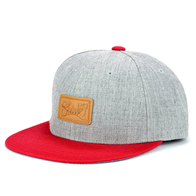 LEATHER PATCH SNAPBACK 6PANEL CAP (MIX-G/RED)(SH150202GRD)