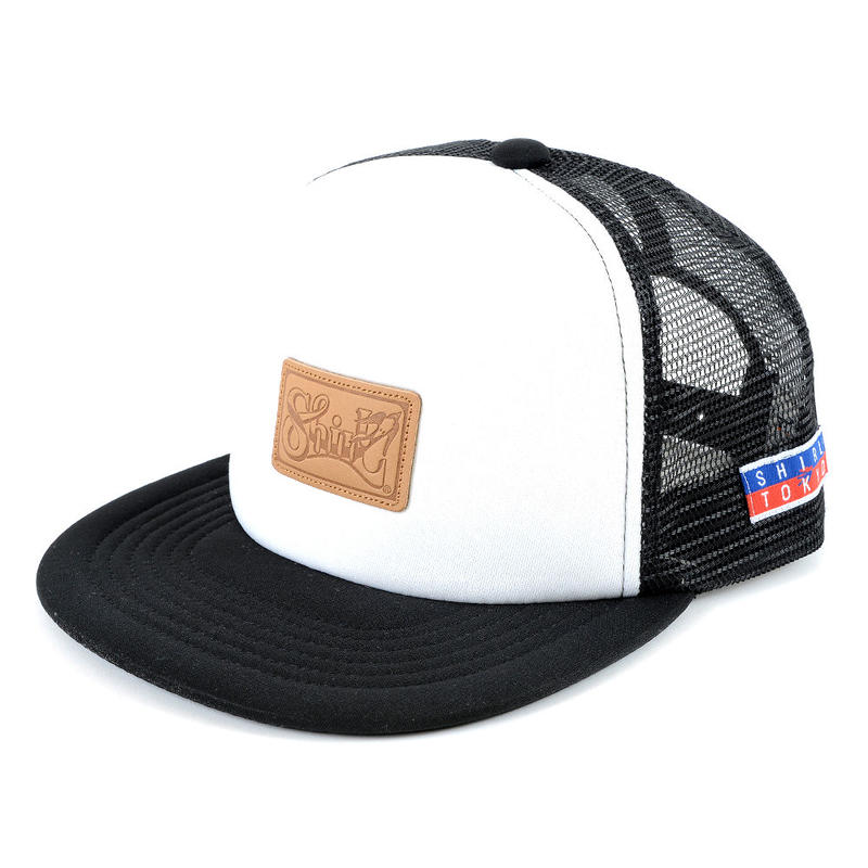 LEATHER PATCH MESH CAP (WHT/BLK)(SH160302WHB)