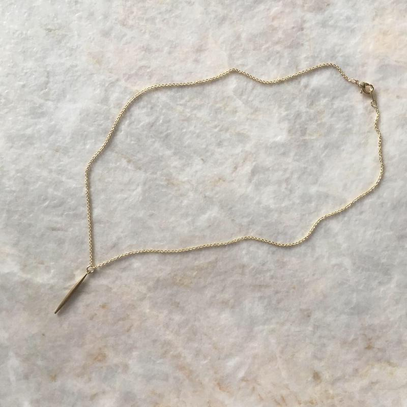 brass stick bar necklace