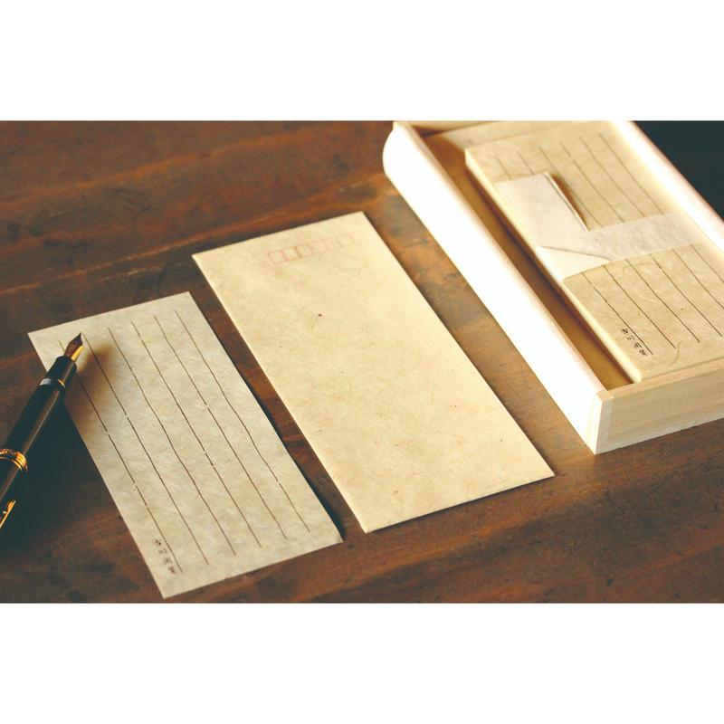 L038名入れ一筆箋 手漉き美濃雁皮紙 桐箱入り