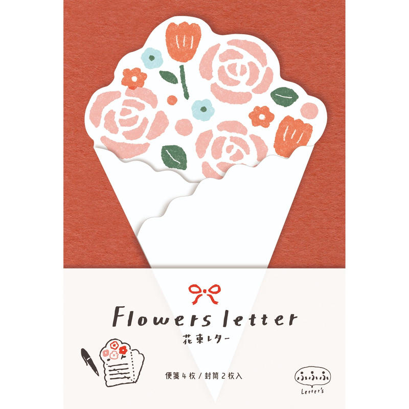 LT286ふふふ 花束レター ピンク  (02120)