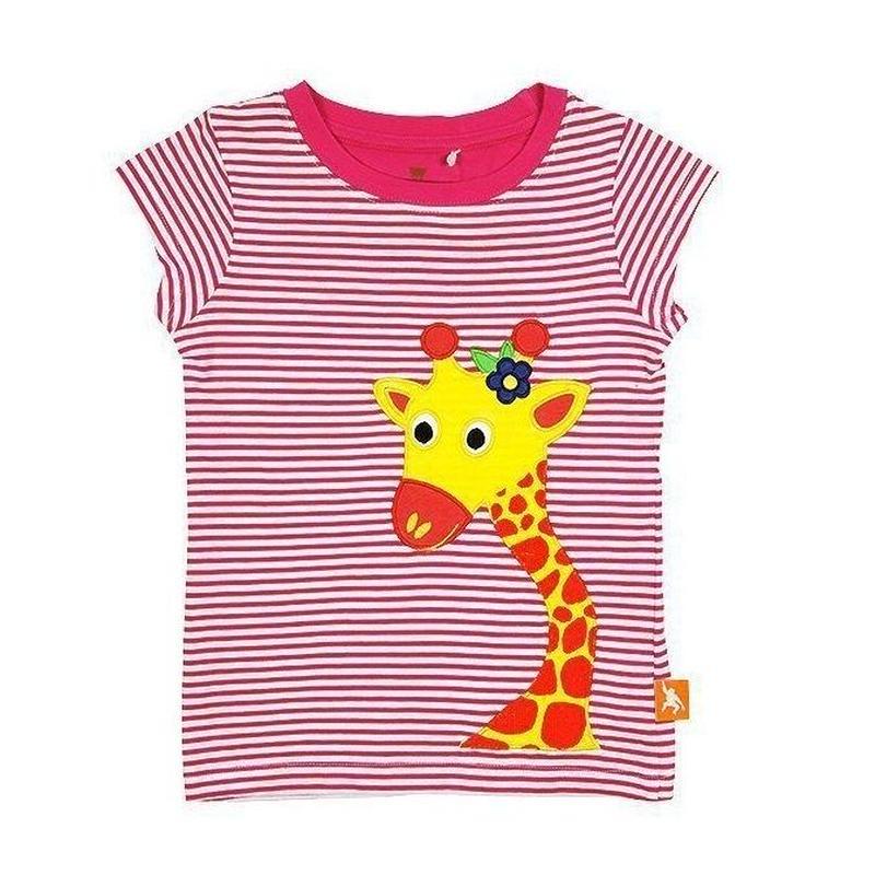 キッズ Tシャツ キリン ピンク 100%オーガニックコットン GOTS認定