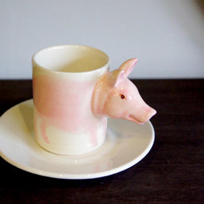 ★ 3D立体 アニマル カップ&ソーサー / Pig (ピッグ) ★