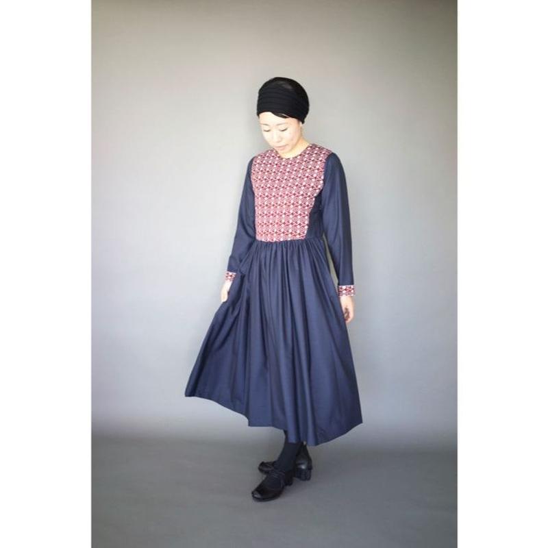 humoresque          rose knit dress  light blue × bordeaux*