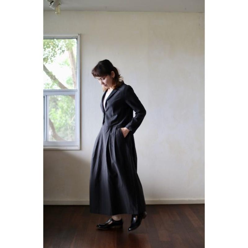 humoresque Open collar dress  - navy stripe -