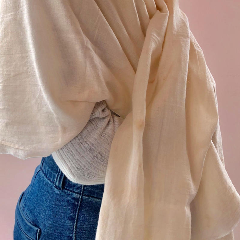 m4y Hand Dying   Gauze Throw  /  Pink Beige