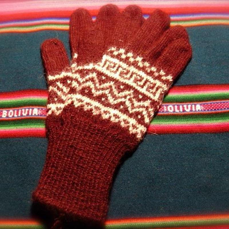 アルパカ100% 手編みてぶくろ 指付き Sサイズ