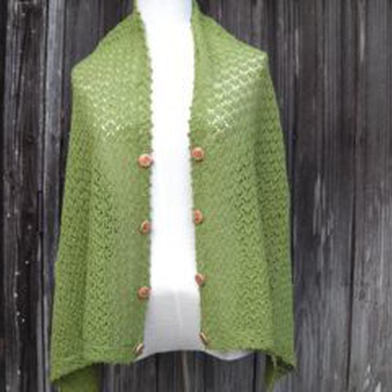 手編みアルパカ4wayボタン付きショール/抹茶色