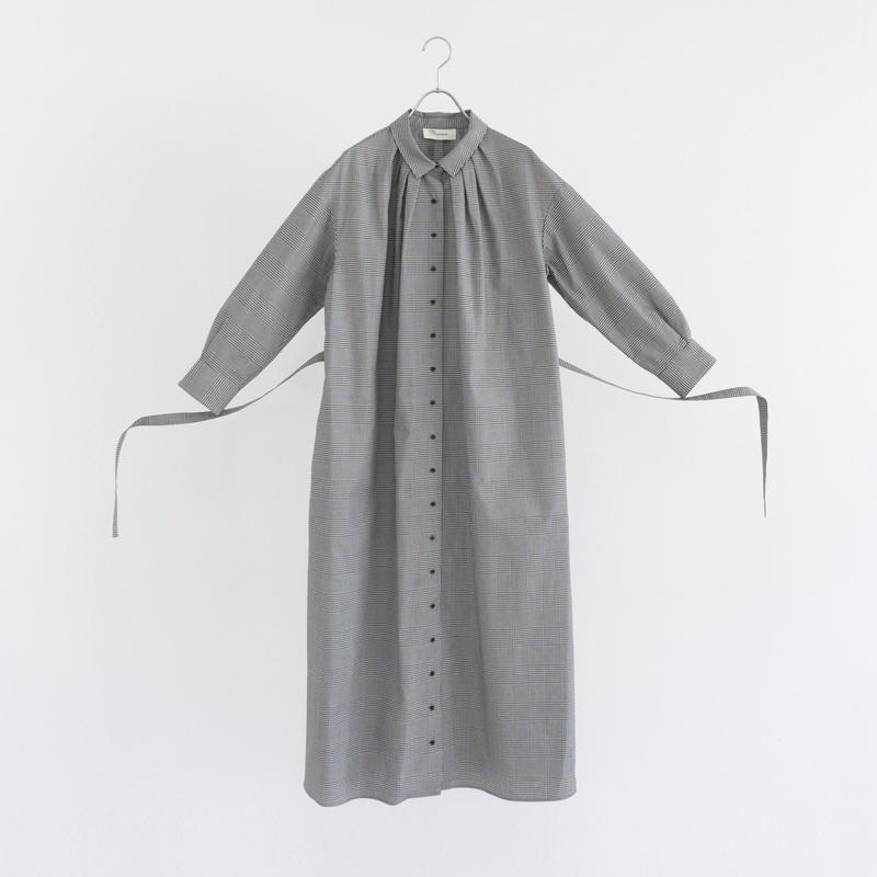 195513 グレンチェックシャツワンピース