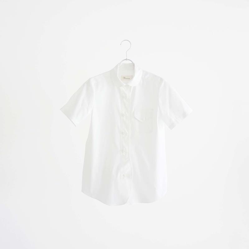 194303 パラシュート釦ラウンドカラー半袖シャツ