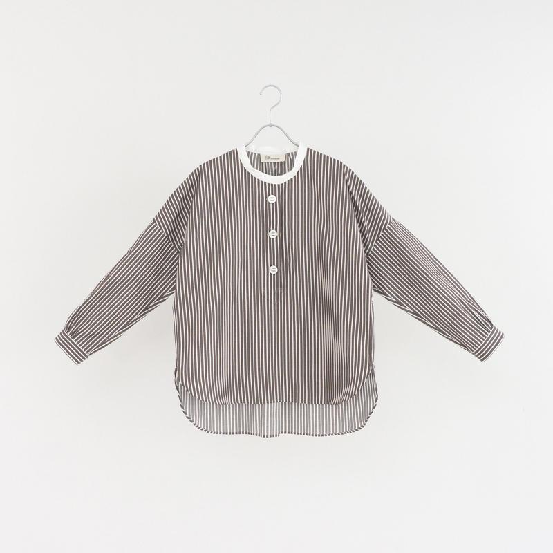 194503 ストライプパラシュートボタンスタンドカラーシャツ