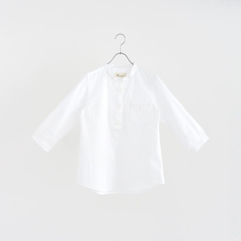 194350 無地ストライプスタンドカラーシャツ