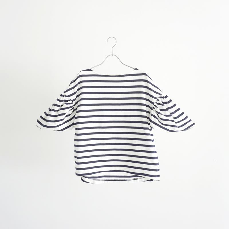 189349 ギャザースリーブボーダーTシャツ