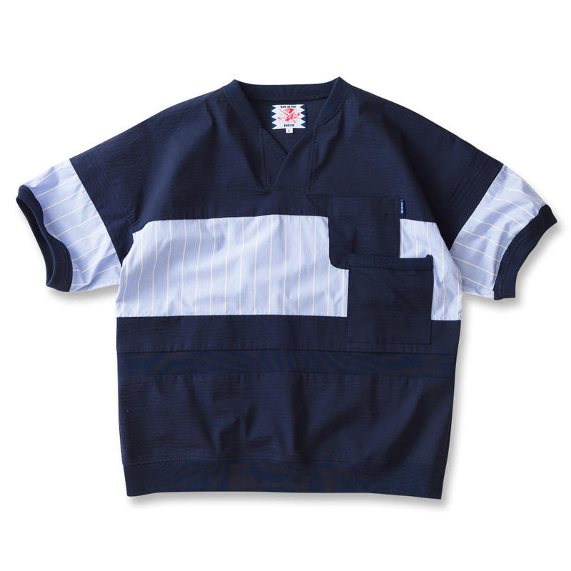 SON OF THE CHEESE / cool max patch work TEE(NAVY)