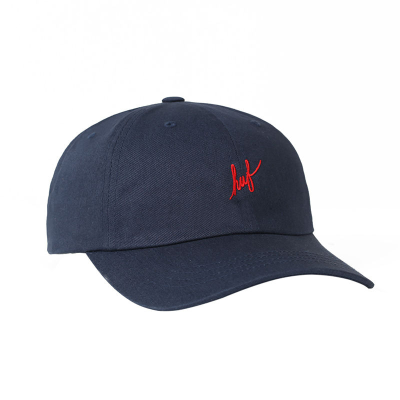 HUF / SCRIPT LOGO CURVED BRIM HAT (NAVY)