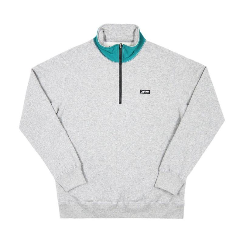 Only NY / Block Logo Quarter Zip Pullover  (Heather Grey)