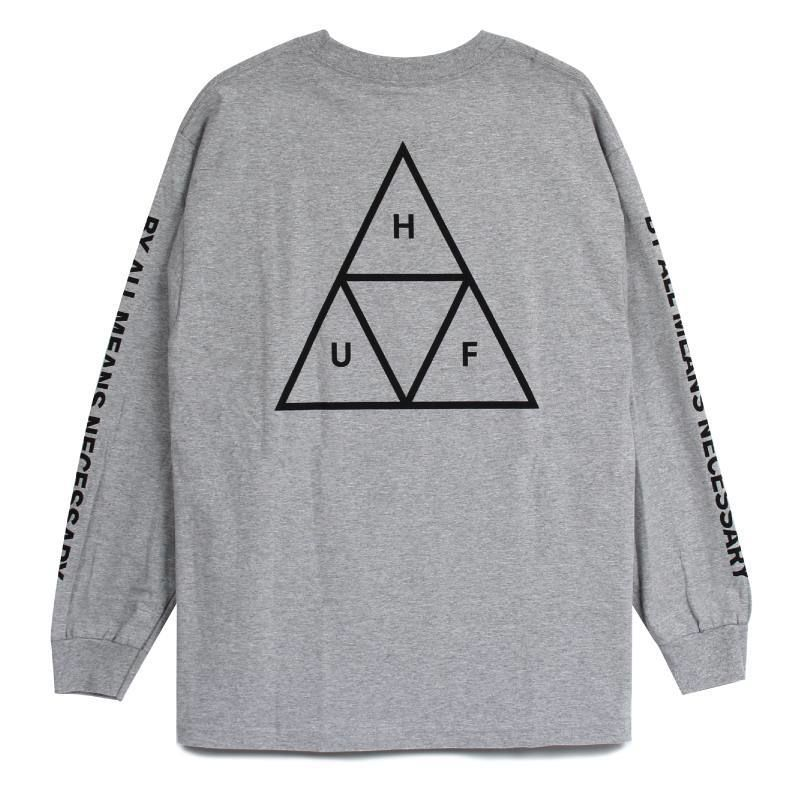 HUF  / ESSENTIALS TT L/S TEE (GREY HEATHER)