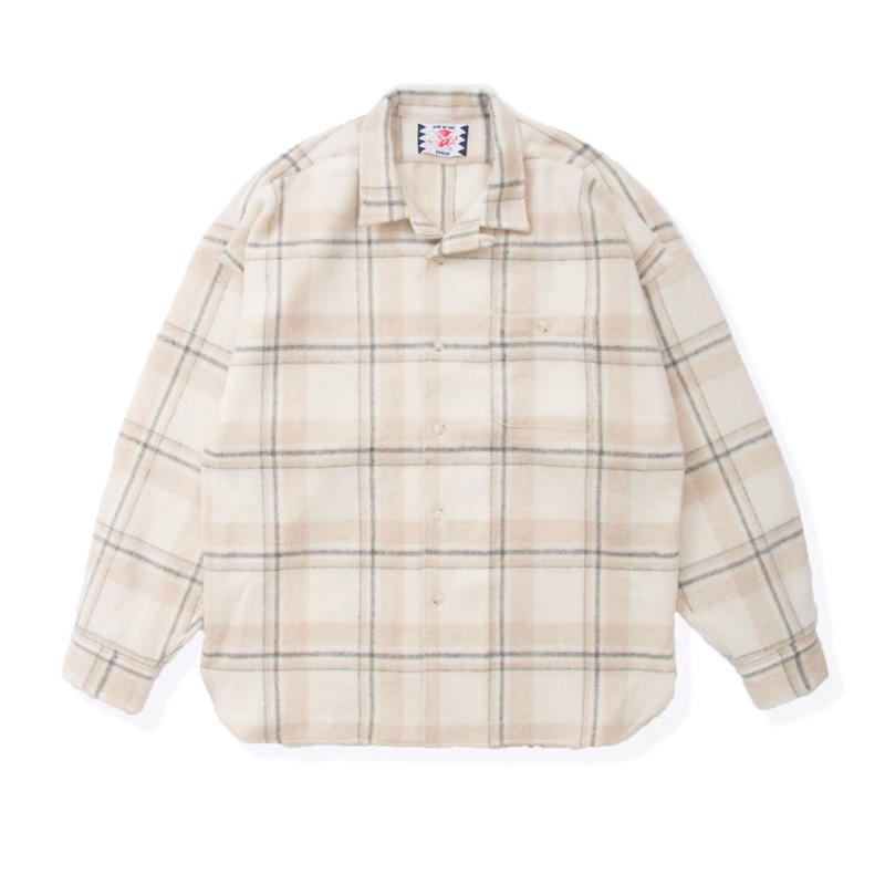 SON OF THE CHEESE / Long flannel shirts (OFF WHITE)