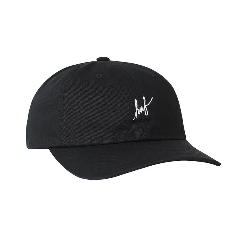 HUF / SCRIPT LOGO CURVED BRIM HAT (BLACK)