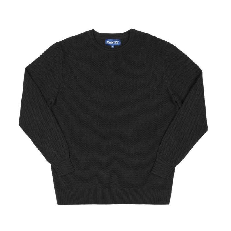 Only NY / Waffle Knit Crewneck Sweater (Black)