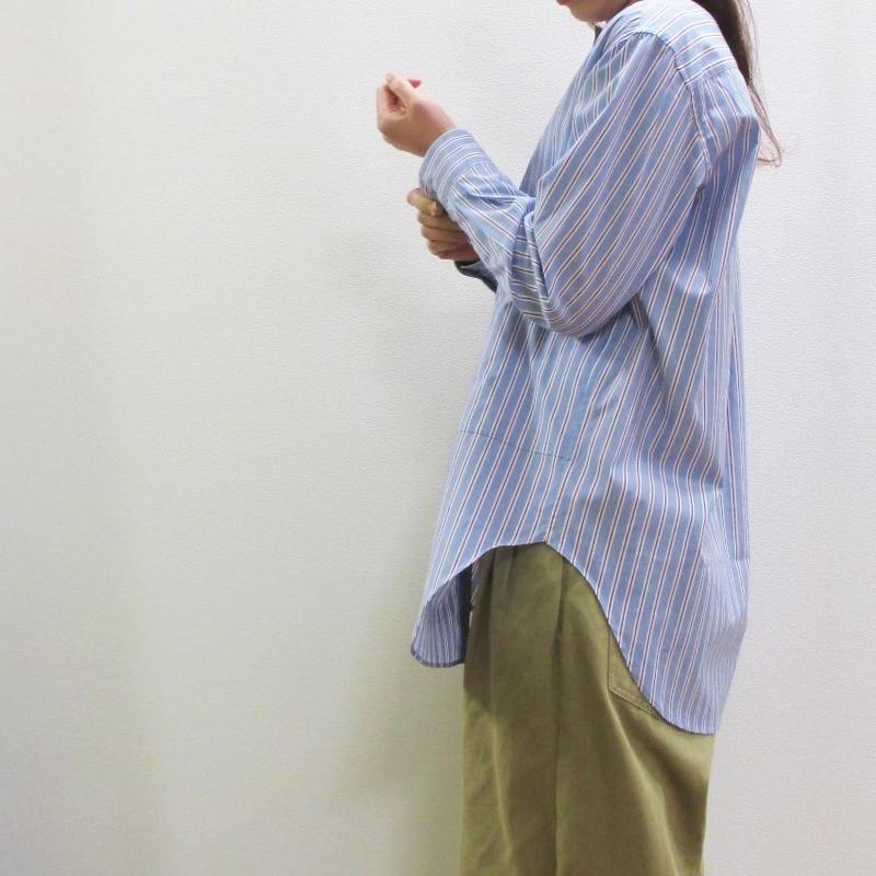 《春夏ストックセール!》doux bleu ストライプノーカラーシャツ
