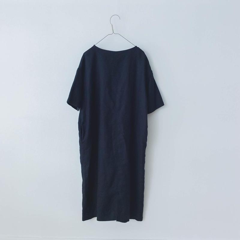 yuni 高密度ツイルリネン製品染Iラインワンピース