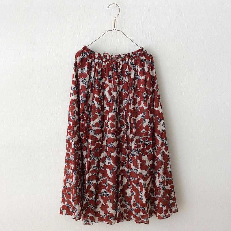yuni  ローンフラワードットプリントギャザースカート