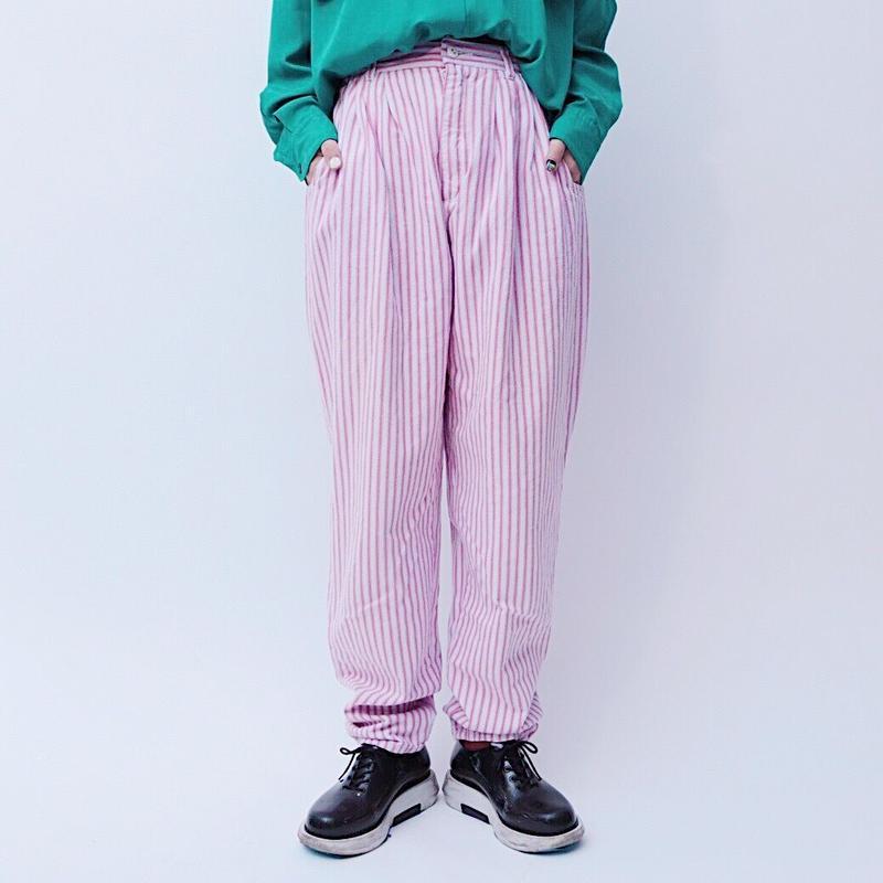 pink stripe tuck pants