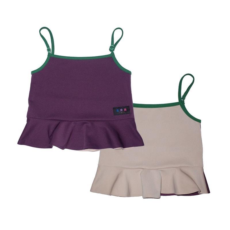2way peplum camisole / purple&beige