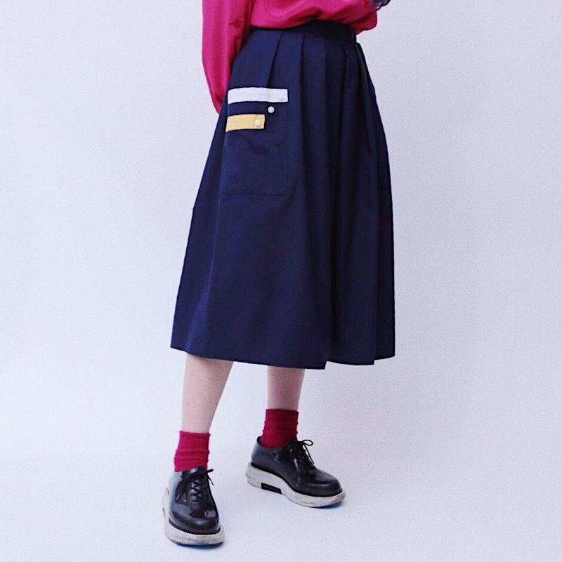 navy pocket skirt