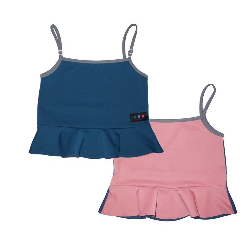2way peplum camisole / pink&blue