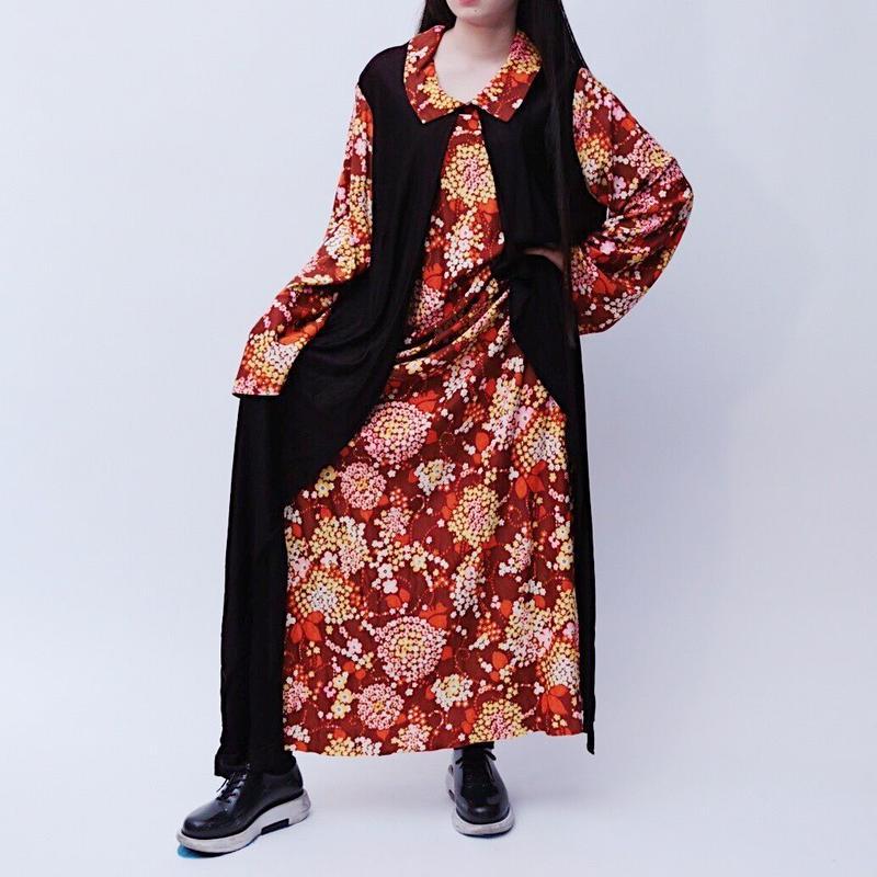 flower pattern layered dress