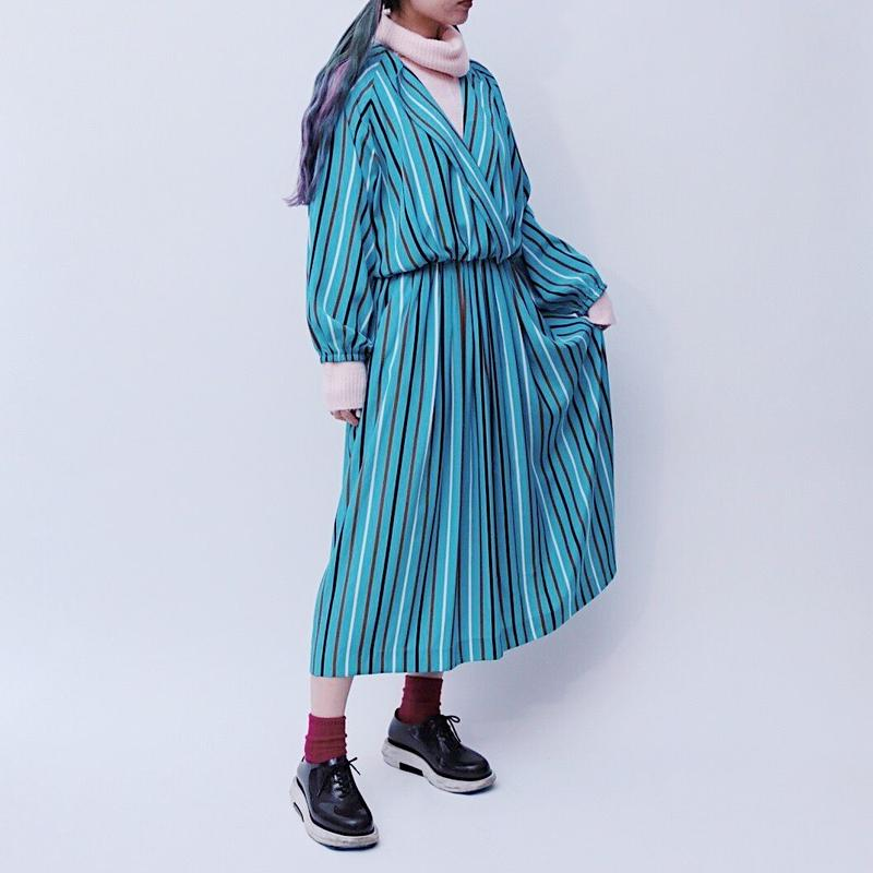 open collar stripe dress