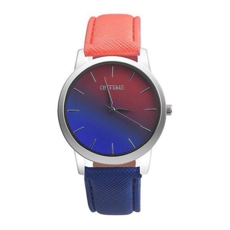女性腕時計 クォーツ腕時計 レトロレインボーデザイン カジュアル革バンドレディースブレスレット腕時計
