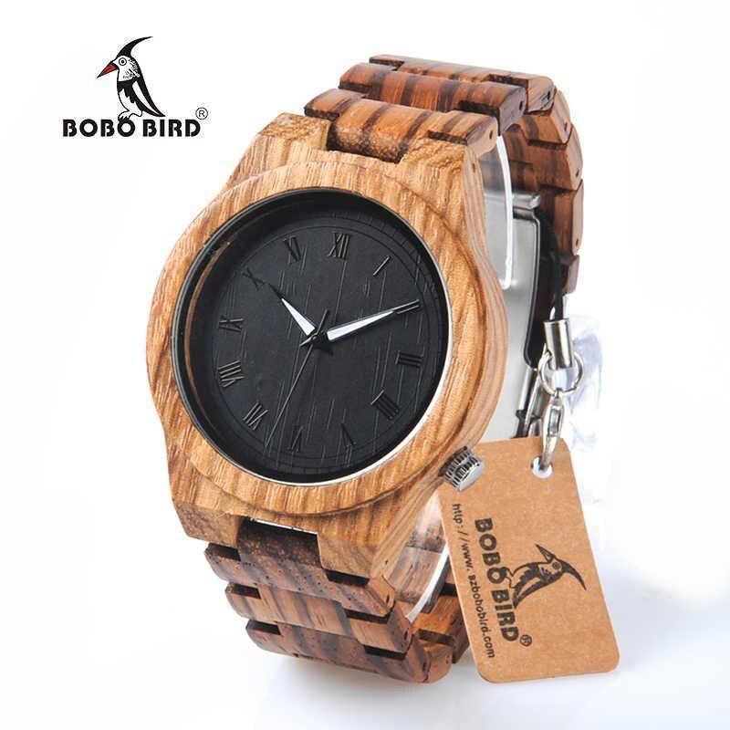 ボボ鳥 ゼブラ木製クォーツ時計 木材バンド 高級ヴィンテージ 木製 発光腕時計
