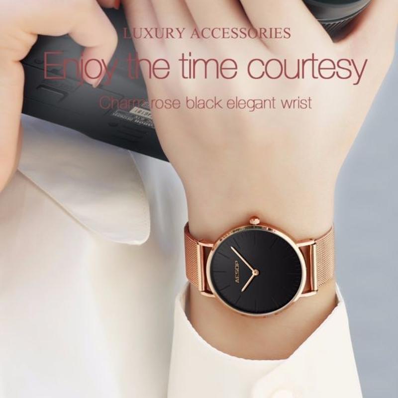 イソップファッション レディース腕時計 ローズゴールド 防水時計 女の子