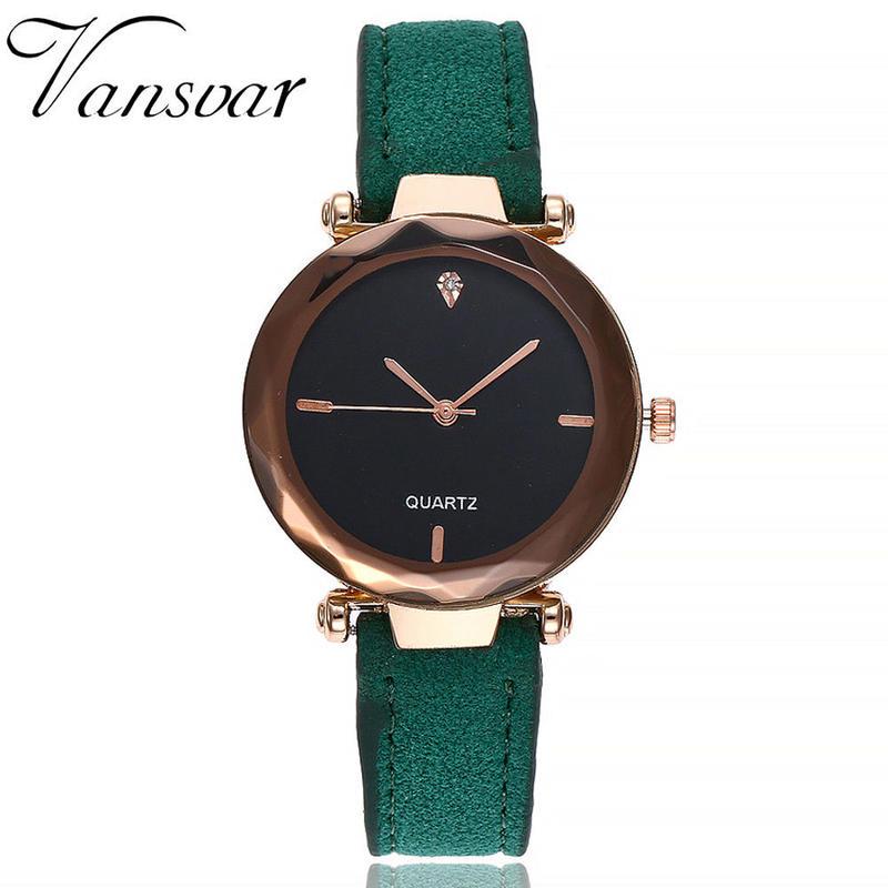 Vansvar 女性腕時計トップブランド高級カジュアルファッションクォーツ時計用 レザーストラップ腕時計
