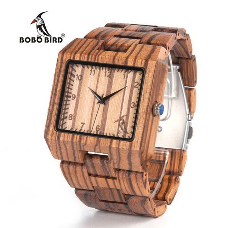 ボボ鳥 男性腕時計 ゼブラ木製腕時計 メンズ 高級ブランド 木材クォーツ腕時計 ギフトボックス